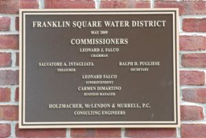 Franklin Square Water District plaque